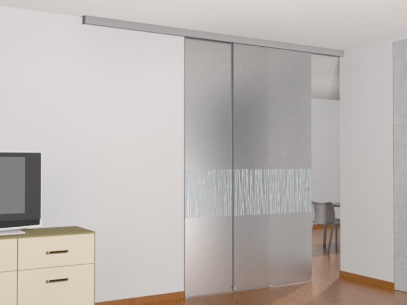 Parete in vetro con porta scorrevole - Porte scorrevoli esterno muro vetro ...