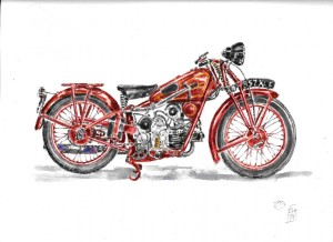 moto cycle moto guzzi acquarello acquerello moto water color watercolors (1)