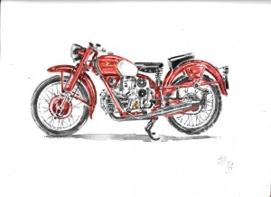moto cycle moto guzzi acquarello acquerello moto water color watercolors (3)