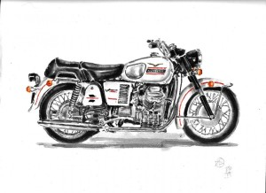 moto cycle moto guzzi acquarello acquerello moto water color watercolors (4)